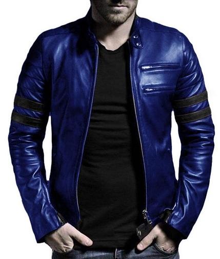 Blue Leather Blazer Men