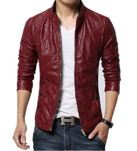 Red Leather Blazer Men