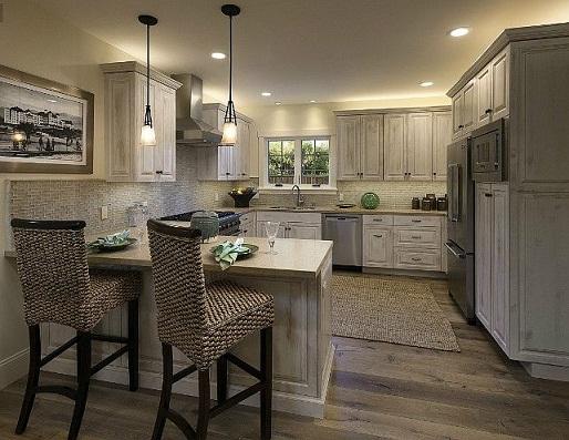 L- shaped with Peninsula designed Kitchen