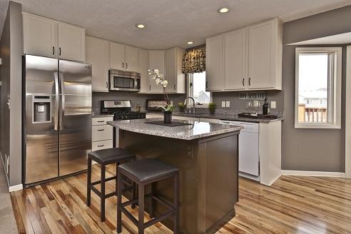 High Cabinets L shaped Kitchen Design