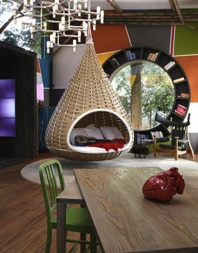 Contemporary Cream Bamboo Swing Chair