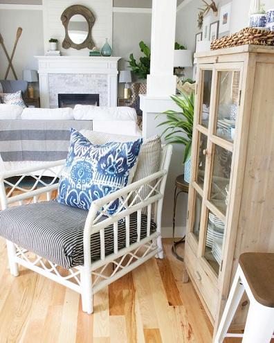 Rattan Bamboo White Chair