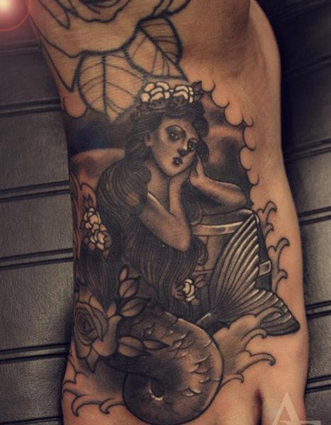 Black Mermaid Tattoo