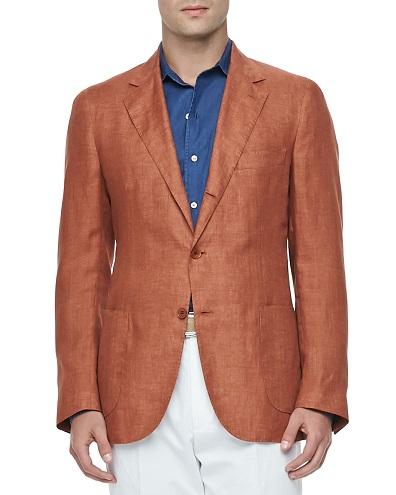Orange Linen Blazer Men