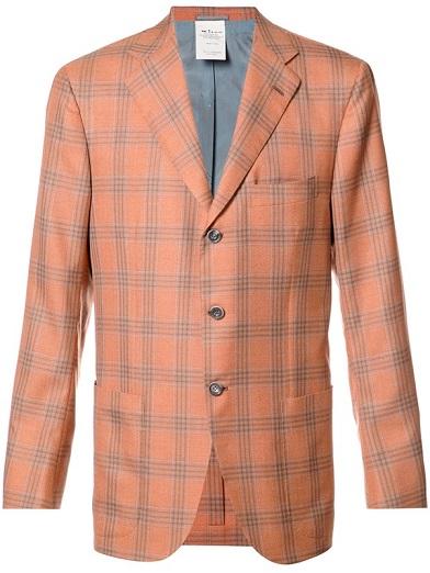 Orange Plaid Blazer Men