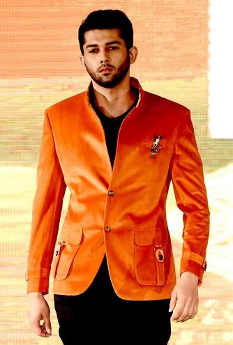 Velvet Type Orange Blazer