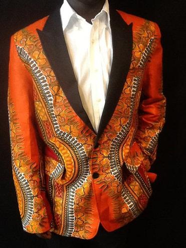 Printed Orange Blazer