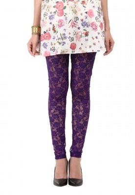 Purple Lace Churidar Pant