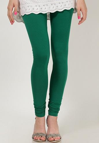 Solid Green Casual Churidar Leggings