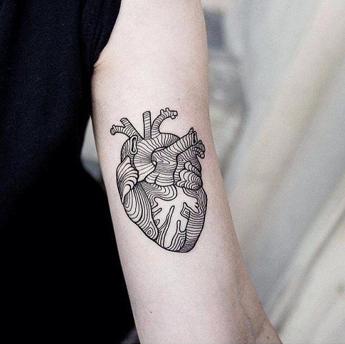 Heart Line Work Tattoo