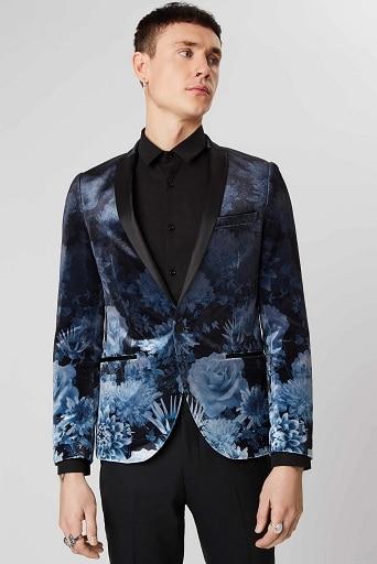 Men Floral Velvet Blazer