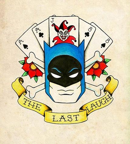 Batman and card tattoos design