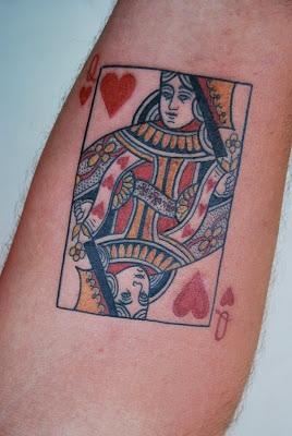 Queen card tattoos design