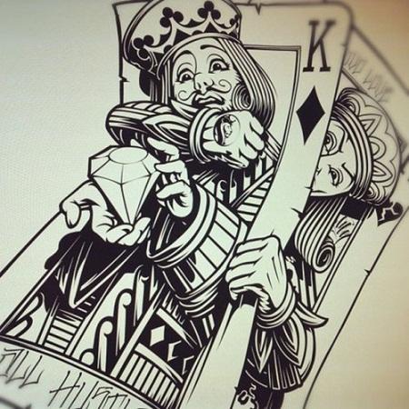 Dramatic card tattoos design