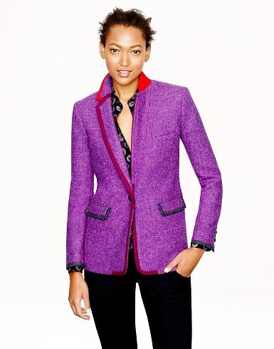 Purple Tweed Blazer Women
