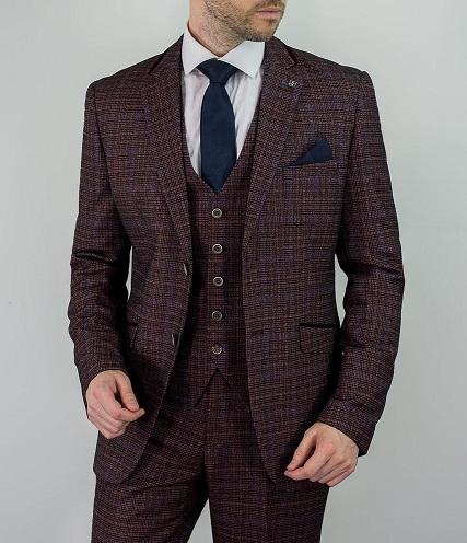 Maroon Tweed Blazer Men