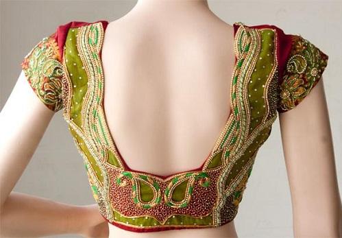 Blouse back neck designs for pattu sarees2