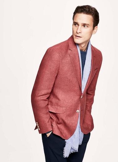 Red Linen Blazer Men