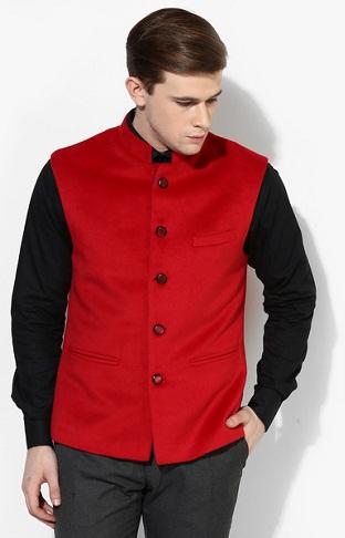 Raymond Red Solid Slim Fit Blazer