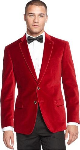 Vintage Red Solid Blazer