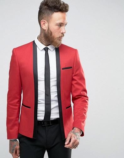 Red Cropped Blazer Men