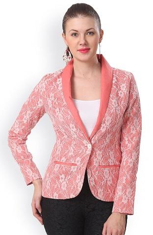 Salmon Pink Printed Linen Blazer