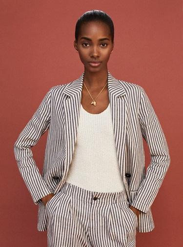 Striped Linen Blazer Women