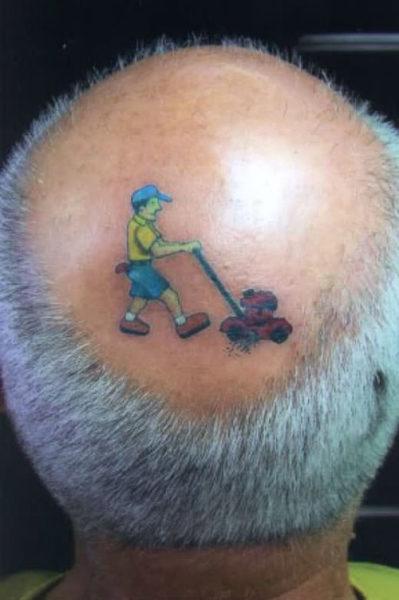 Bald Head Funny Tattoo
