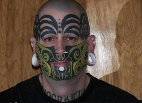 Retarded Funny Face Tattoo