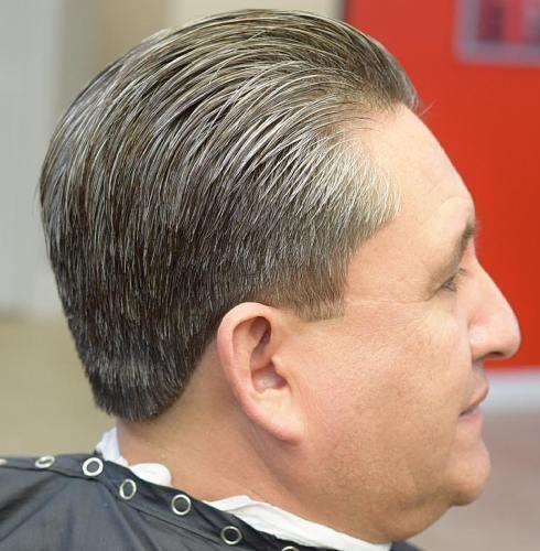 Sliced back taper haircut