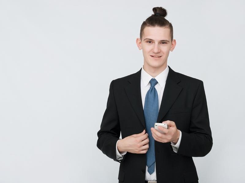 Men's Bun Business Hairstyle