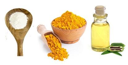 Wheat flour, Turmeric powder and sesame oil