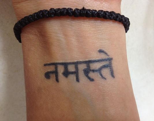 Sanskrit Namaste Tattoo on wrist