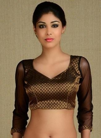 Transparent Golden-Black Sleeve Blouse