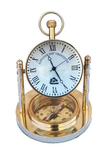 "5"" Compass Brass Nautical Desk Clocks"