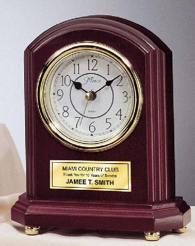 Gold Plate Engraved Desk Clocks