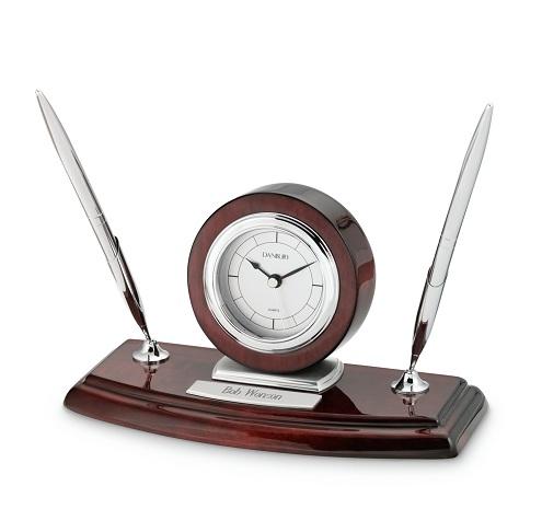 Pen Stand Silver Desk Clocks