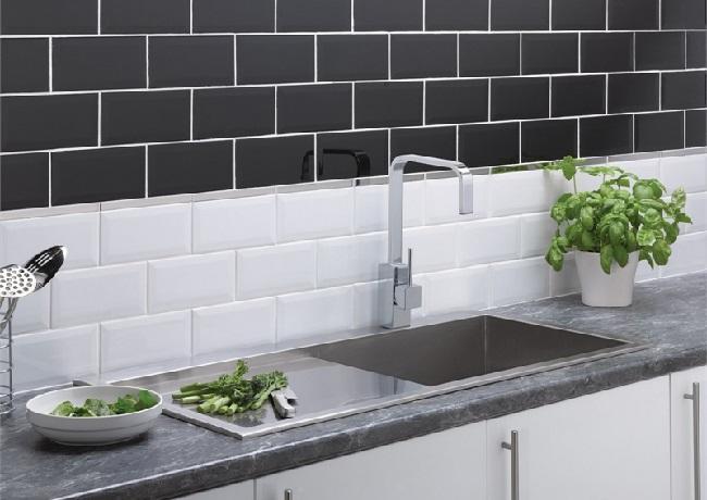 White And Black Kitchen Tiles