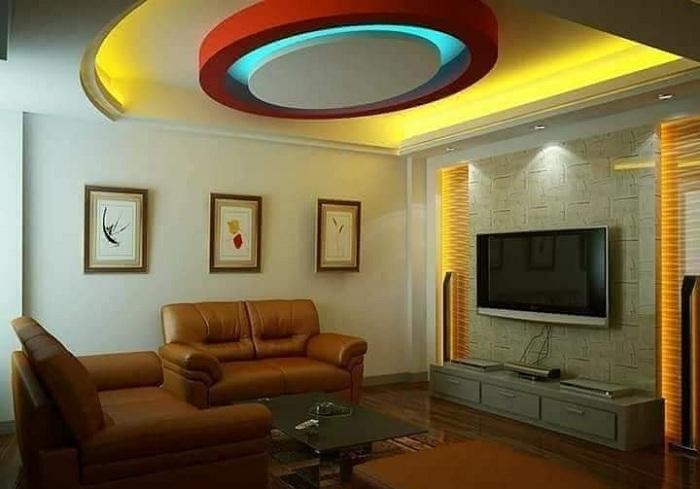 Colourful Pop False Ceiling Design For Hall