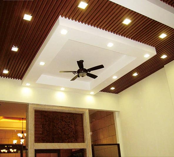 Wooden Pop Ceiling Design For Hall