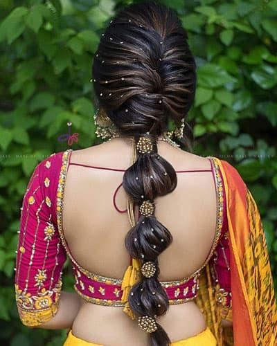 Rolled Up Braid Hair for Lehenga