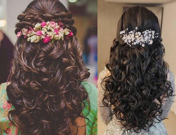 Flower Roll Hairdo with Lehenga