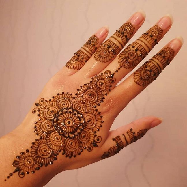 Beautiful Floral Finger Mehndi Design