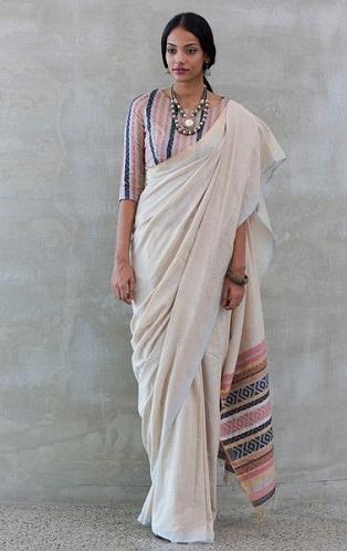 A Lined Print South Cotton Saree Blouse