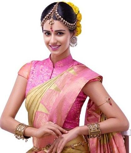 Short Sleeve Brochette South Indian Blouse