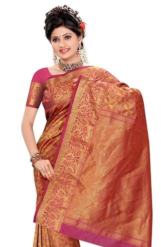 Orange Pink Kancheepuram Saree Blouse