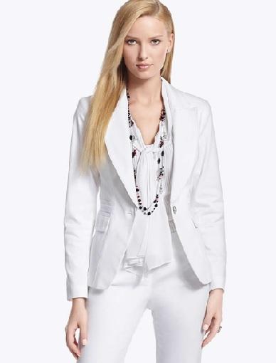 White Cotton Blazer Womens