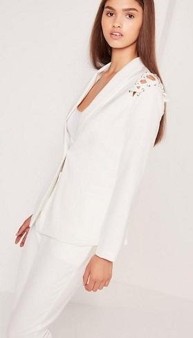 White Blazer with Lace Work