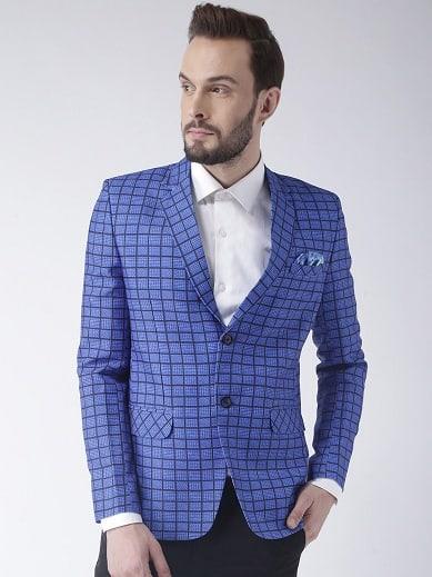 Blue Check Blazer Men