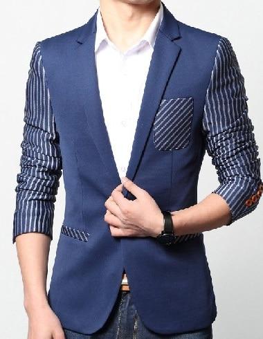 Mens Dark Blue Blazer With Stripes
